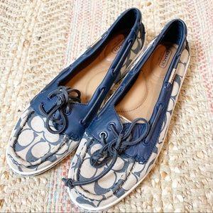 Coach Richelle Monogram Boat Shoes Blue 10